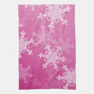 Girly pink and white Christmas snowflakes キッチンタオル