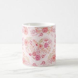 Girly Pink Heart Floral Watercolor Flower Mug コーヒーマグカップ