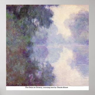 Givernyのクロード・モネ著朝の霧のセーヌ河 ポスター