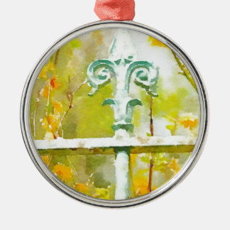 Givernyの(紋章の)フラ・ダ・リ シルバーカラー丸型オーナメント