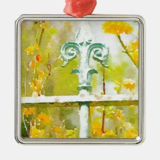 Givernyの(紋章の)フラ・ダ・リ シルバーカラー正方形オーナメント