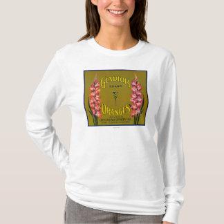 Gladiolaのブランドの柑橘類の木枠のラベル Tシャツ