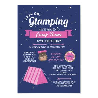 Glampingのキャンプ海軍ピンクの行こう招待状 カード