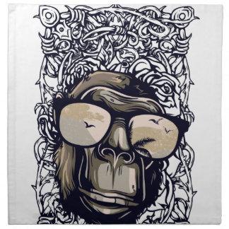 glasessとの猿のヴィンテージ ナプキンクロス