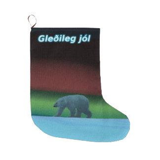 Gleðilegのjól -極光の白くま ラージクリスマスストッキング