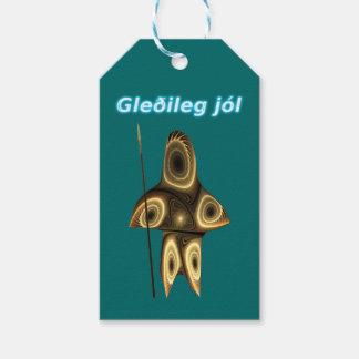 Gleðilegのjól - Tuvaaqのフラクタルのイヌイット族のハンター ギフトタグ