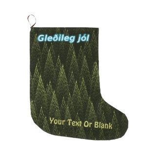 Gleðileg Jól -針葉樹 ラージクリスマスストッキング