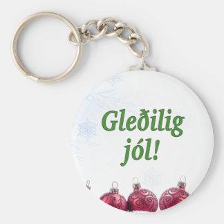 Gleðiligのjól! フェロー語のgfのメリークリスマス ベーシック丸型缶キーホルダー