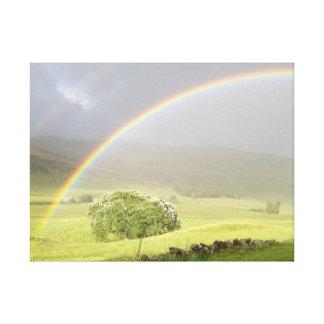 Glensheeスコットランドの二重虹 キャンバスプリント