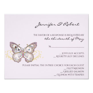 Glitter Butterfly on Lavender Response Card カード