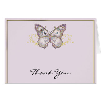 Glitter Butterfly on Lavender Thank You カード