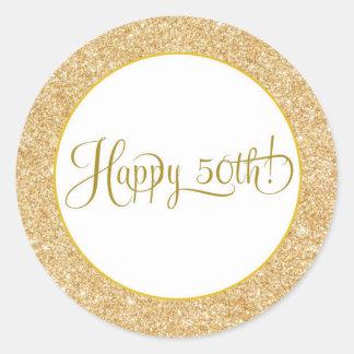 Glitter Gold Happy 50 Birthday Anniversary Label ラウンドシール