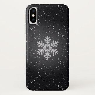 Glittering Silver Snowflake Black iPhone X Case iPhone X ケース