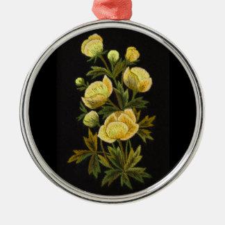 Globeflowerの不朽の優れた円形のオーナメント シルバーカラー丸型オーナメント