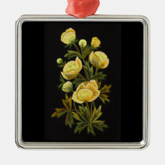 Globeflowerの不朽の優れた正方形のオーナメント シルバーカラー正方形オーナメント