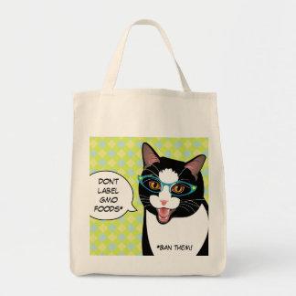 GMOのヒップスターのタキシード猫の買い物袋を言わないで下さい トートバッグ