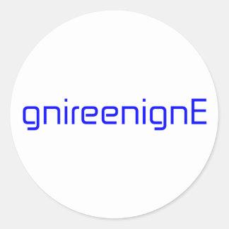 gnireenignEの黒いブルーグレーの白 丸形シール・ステッカー