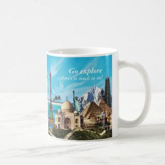 go 7つの驚異旅行コラージュのマグを探検します コーヒーマグカップ