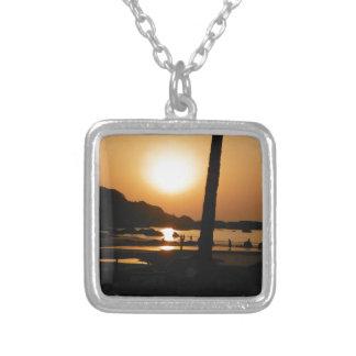 Goaの日没 シルバープレートネックレス