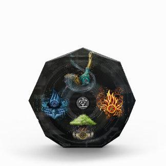 Godai 5の要素の漢字の芸術のイラストレーション 表彰盾