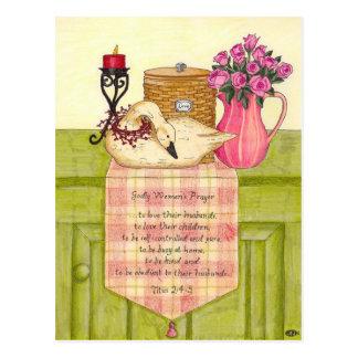 Godly女性の祈りの言葉の感動的な郵便はがき ポストカード