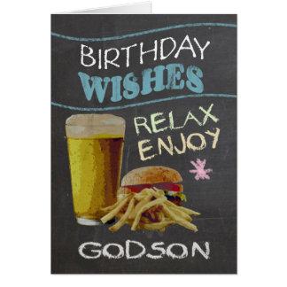 Godsonのビールハンバーガーとの粋な黒板の効果、 グリーティングカード