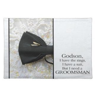 Godsonは私の花婿の付添人-招待です ランチョンマット
