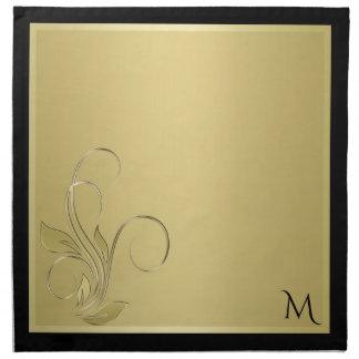 Gold and Black Elegant Monogram Napkins ナプキンクロス