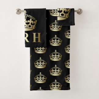 Gold and Black HRH Royal Highness Crown バスタオルセット