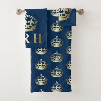 Gold and Blue HRH Royal Highness Crown バスタオルセット