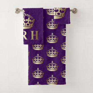 Gold and Purple HRH Royal Highness Crown バスタオルセット