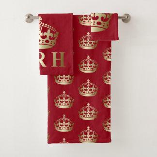Gold and Red HRH Royal Highness Crown バスタオルセット