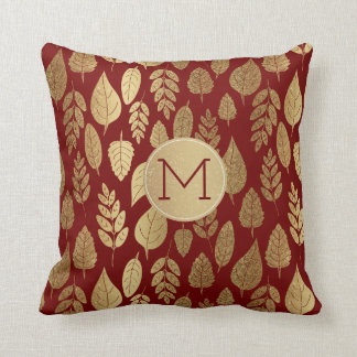 Gold and Red Leaf Pattern & Monogram クッション