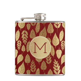 Gold and Red Leaf Pattern & Monogram フラスク