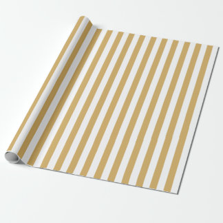 Gold and White Stripes ラッピングペーパー
