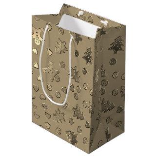 Gold Beige Ginger Bread Pattern Christmas Gift Bag ミディアムペーパーバッグ