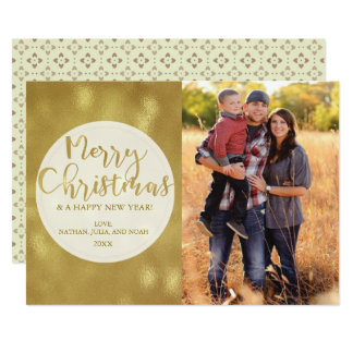 Gold Bokeh Merry Christmas Family Photo Holiday カード