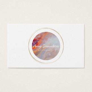 Gold Circular Fire Opal Design Business Card 名刺