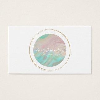 Gold Circular Mint Green Opal Design Business Card 名刺