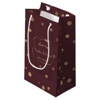 Gold Confetti Love Burgundy Wedding スモールペーパーバッグ