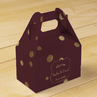 Gold Confetti Love Burgundy Wedding フェイバーボックス