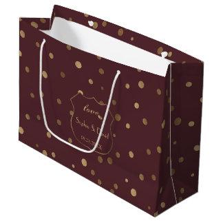 Gold Confetti Love Burgundy Wedding ラージペーパーバッグ
