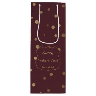 Gold Confetti Love Burgundy Wedding ワインギフトバッグ