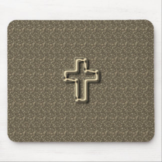Gold-CROSS-Christian-Faith_Churches_Taupe マウスパッド