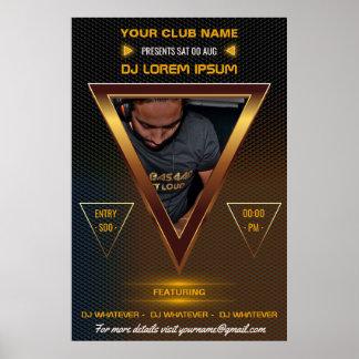 Gold DJ Music and Dance Gig add photo and logo ポスター
