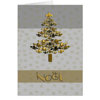 Gold Fleur de LysのクリスマスツリーNoel カード