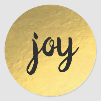 Gold Foil Background Joy Holiday Sticker ラウンドシール