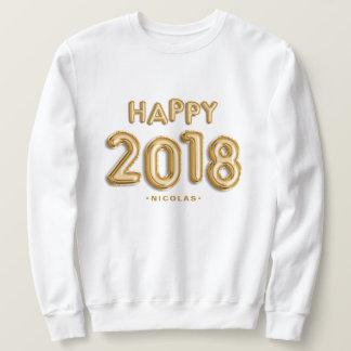 Gold Foil Balloons Happy 2018 Personalized スウェットシャツ