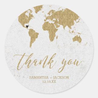 Gold Foil World Map Destination Monogram Wedding ラウンドシール