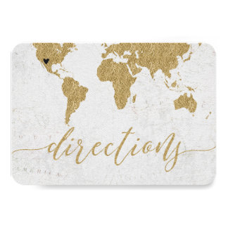Gold Foil World Map Destination Wedding Directions カード